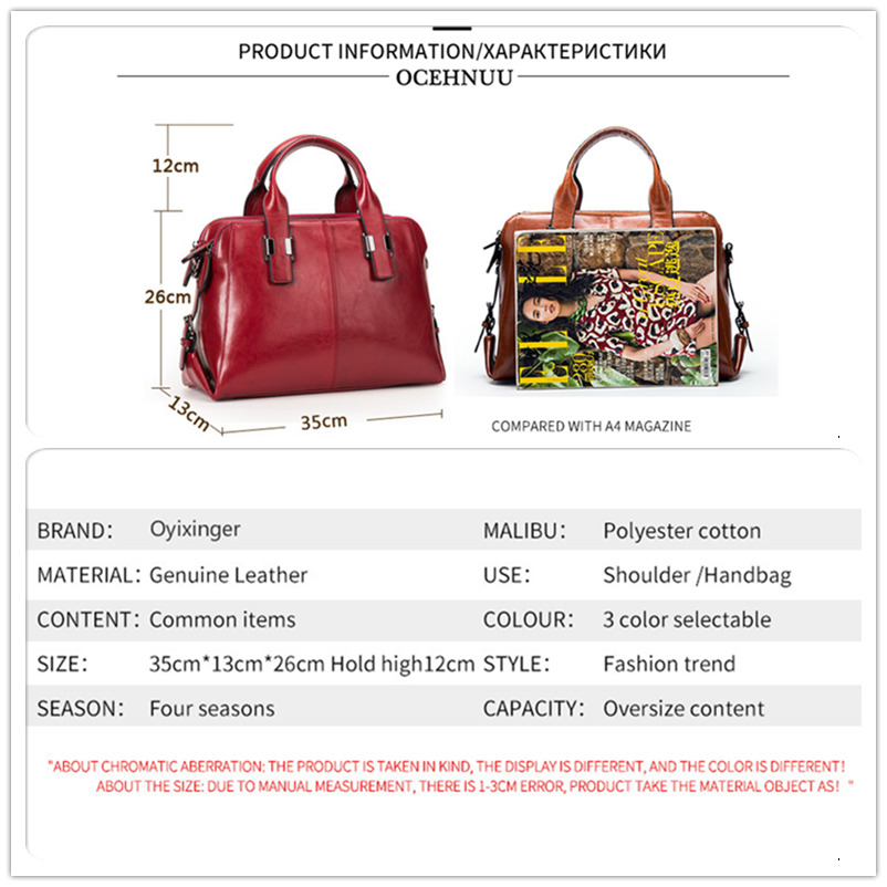 Image 4 - Genuine Leather Women Totes Luxury Handbags Double Zipper Design Ladies Shoulder Bags Designer Real Cowhide Handbag Sac A Main-in Top-Handle Bags from Luggage & Bags