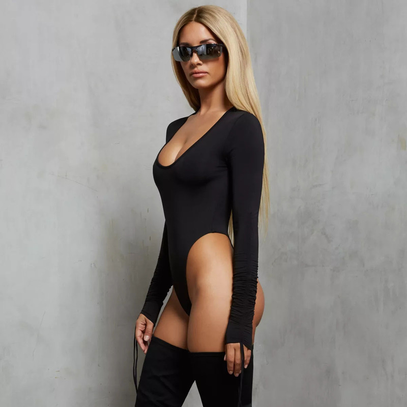MUXU sexy black bodysuit women long sleeve rompers womens jumpsuit combinaison femme body mujer black jumpsuits playsuits in Bodysuits from Women 39 s Clothing