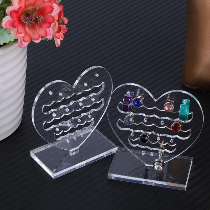 2pcs Jewelry Organizer Jewelry Display Holder Clear Plexiglass Heart Pattern Rack For Earring