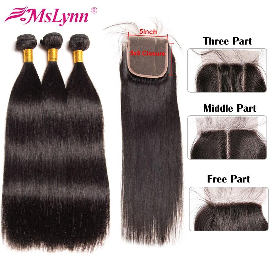 5x5 Closure With Bundles Straight Hair Bundles With Closure Peruvian Human Hair Bundles With Closure 5x5