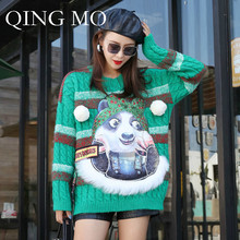 QING MO Women Panda Striped Cable- Knit Sweater 2018 Autumn Women Pullover Little Furball Sweater Cartoon Panda Sweater DQ208A(China)