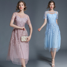 New 2019 Spring Summer Net Yarn Heavy Embroidery Long A-Line Dress Short Sleeves Brand Design High Quality Vestido Outfit Women