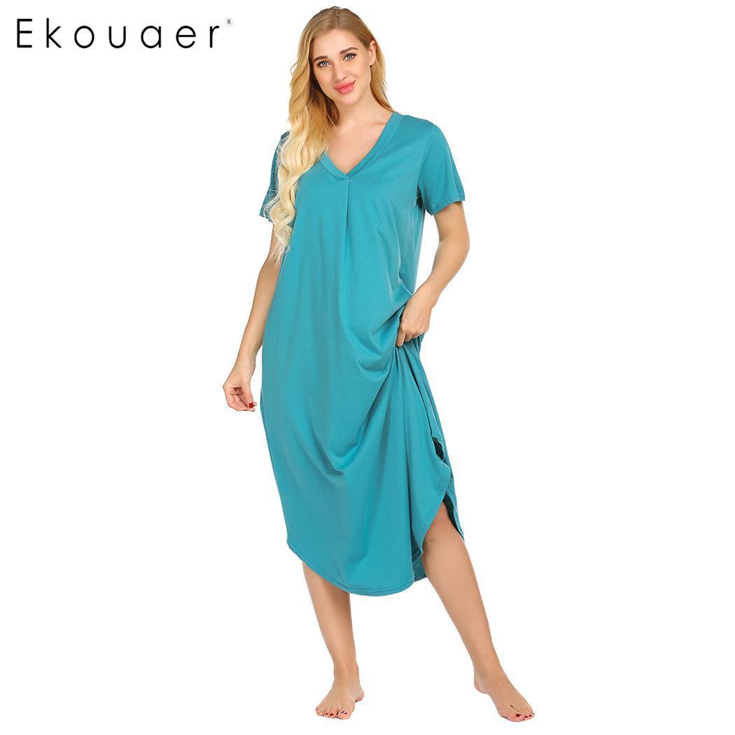 Ekouaer Long   Nightgown     Sleepshirts   Night Front Pleated Summer Home Casual Dress Women Solid V-Neck Short Sleeve Nightdress