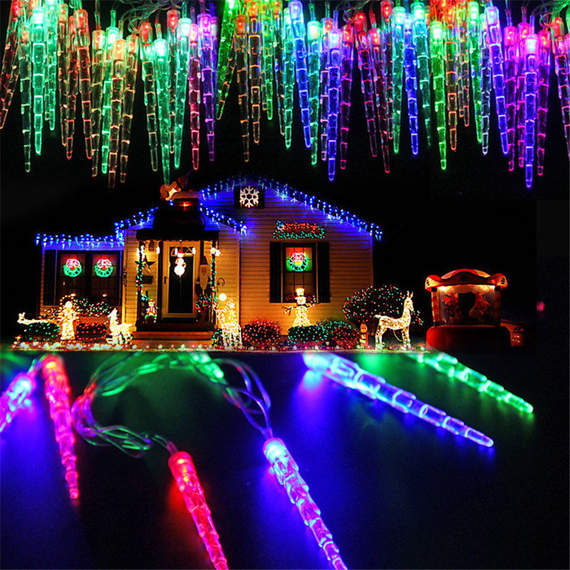 4m 20 Icicle Led String Light Crystal Ice Cone Christmas