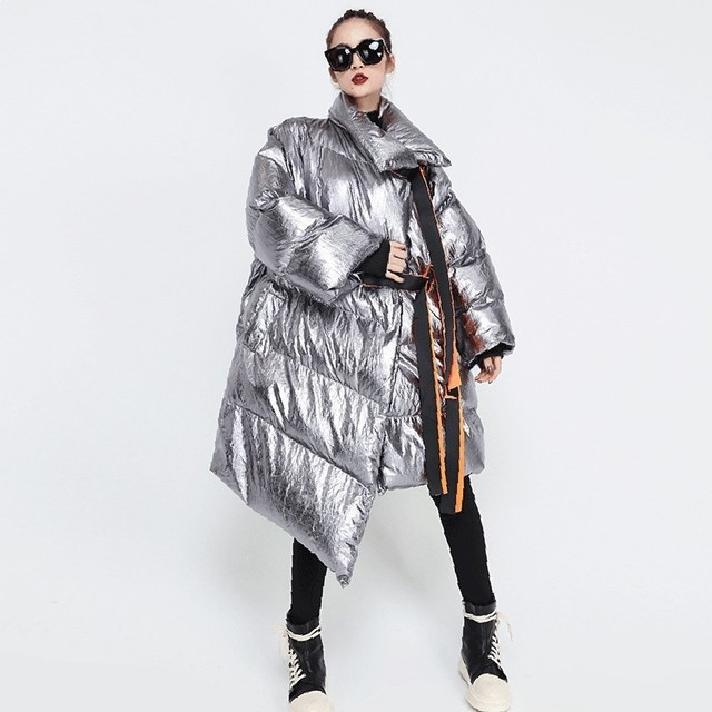 TWOTWINSTYLE Winter Women's Down Jacket Long Sleeve Patchwork Ribbons Irregular Cotton Coats Female 2019 Autumn Plus Thick Warm 1
