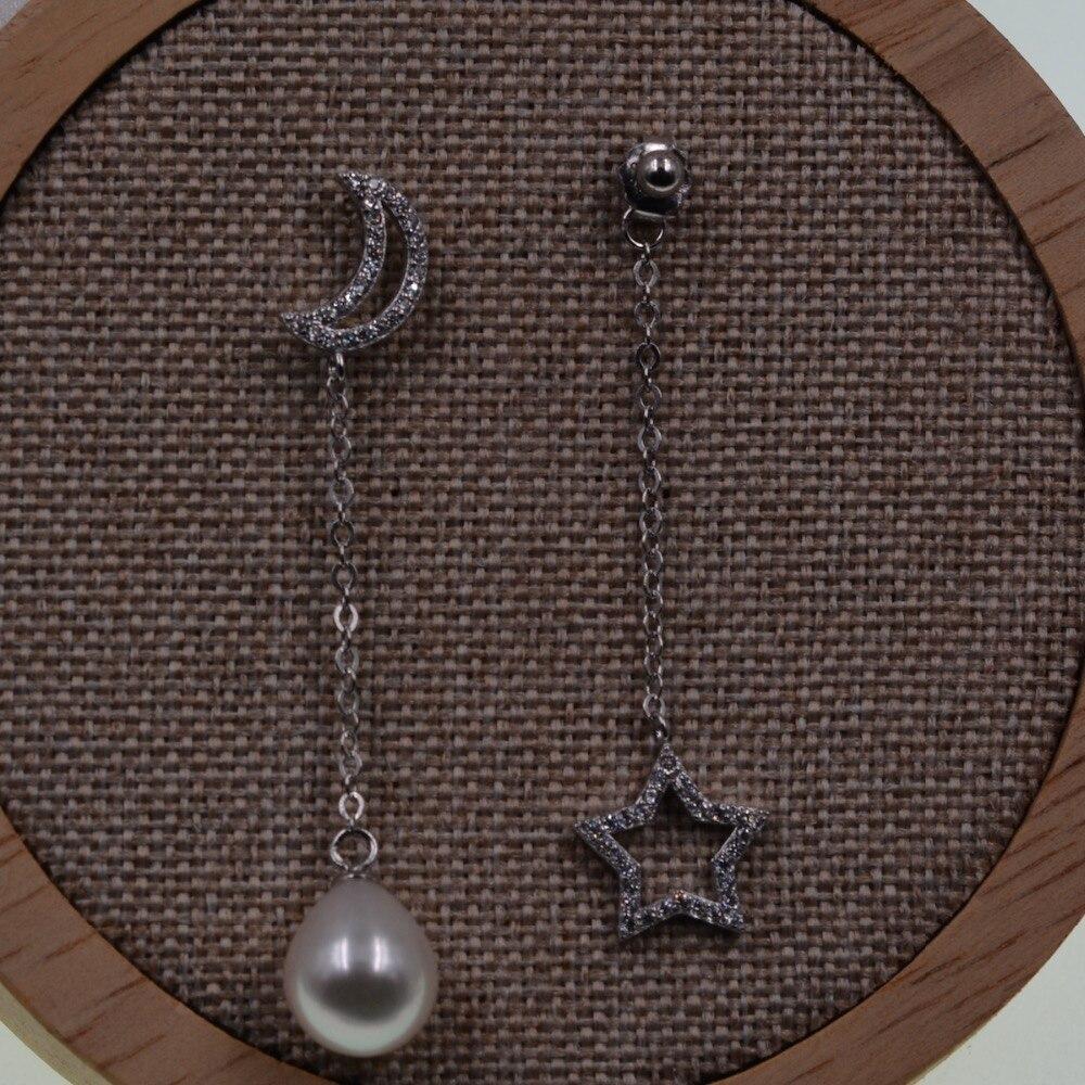 Boucles d'oreilles en perles d'eau douce blanches naturelles avec cristal strass lune et étoile