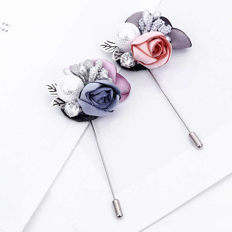 1PC Flower Brooch Rhinestone Colorful Cloth Gray Pink Handmade Cardigan Silver Color Lace Sweater Crystal Simulated Pearl Alloy