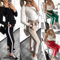 Hirigin Brand High Waist Elastic Striped Pencil Pants For Women Casual OL Lady Solid Pencil Long Pant 2018 Women Clothes