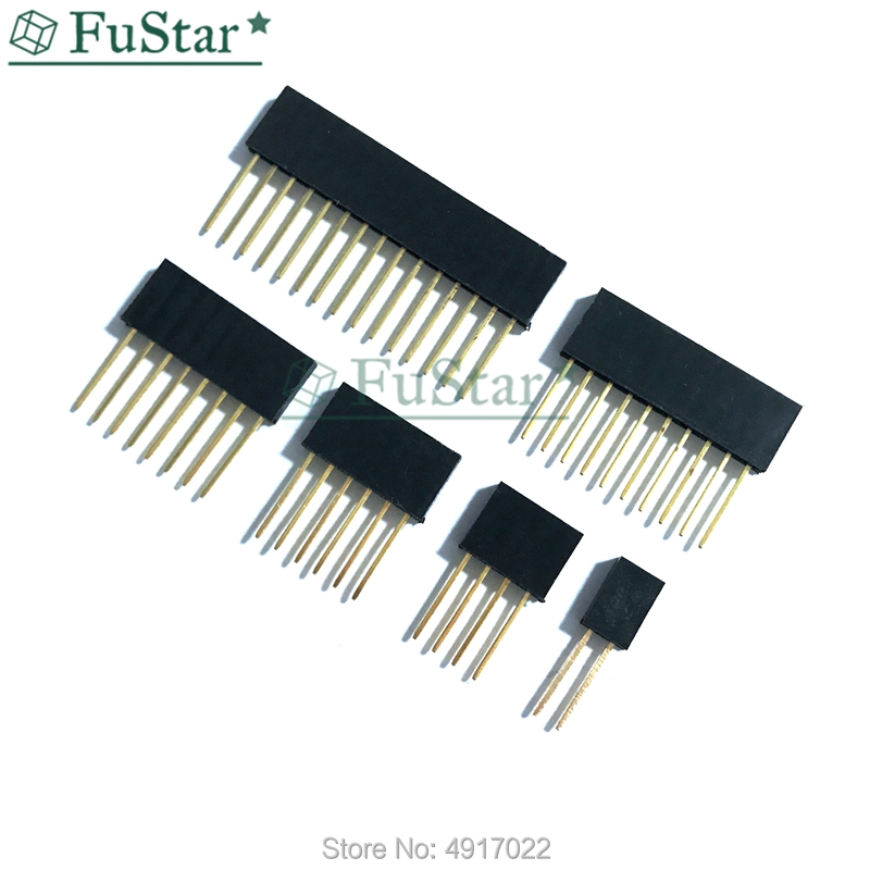 100Pcs Copper 2.54mm 6Pin Long Needle Female Pin Header Socket Connector 11mm UE