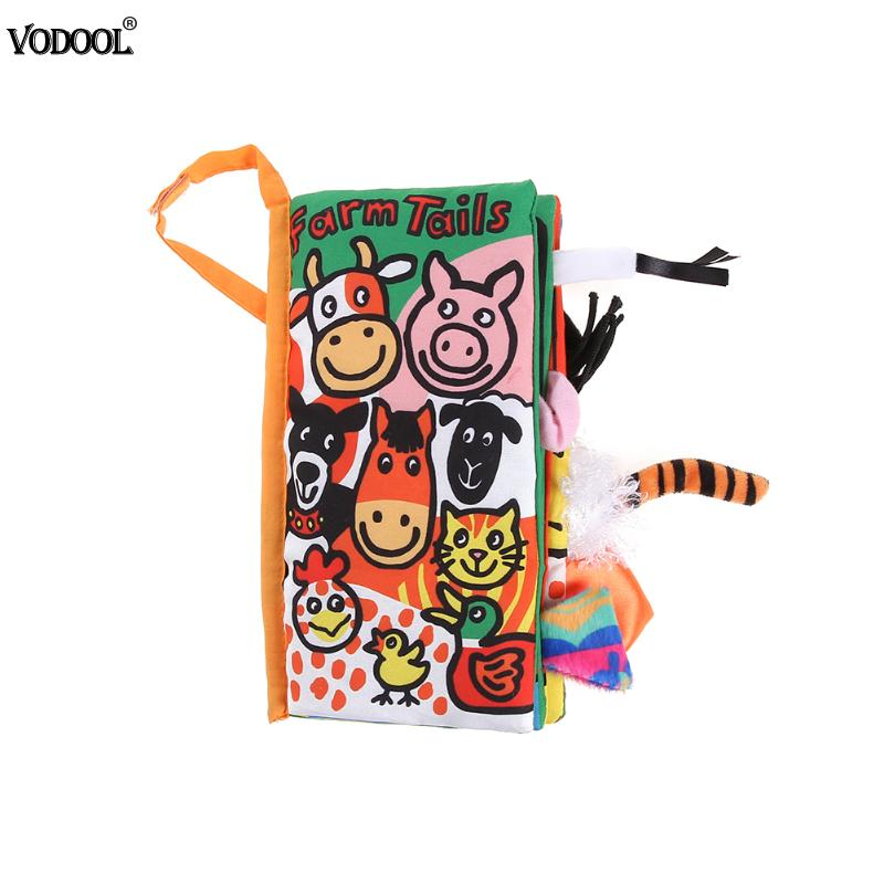 VODOOL Soft Cloth Book Cartoon Animal Kids Toys Early Children Infant Development Educational Learning Unfolding Activity Book