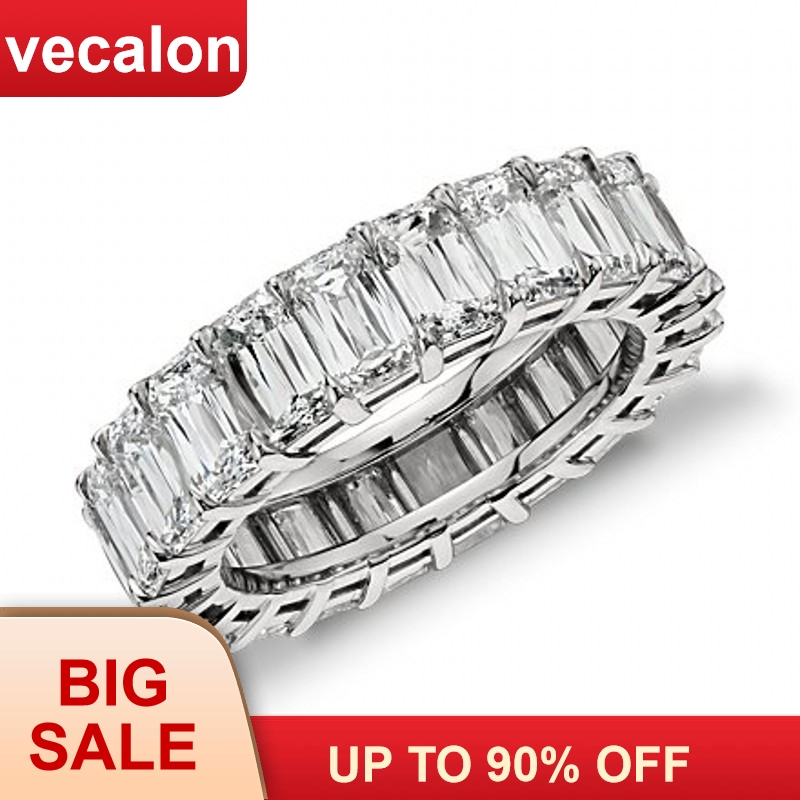 Vecalon Fashion Wedding Bands Ring 925 Sterling Silver Princess Cut 5A Zircon Sona Cz Engagement Rings For Women Finger Jewelry