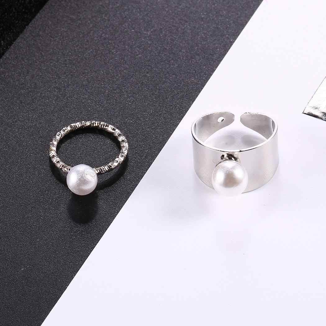 Artificial Ring Pack New Pearl Jewelry Charm Wedding Design Pearl of Fashion 2Pcs Rings Wide Women Casual Surface