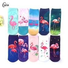 3D Flamingo Impressão Meias Casuais Mulheres Duráveis Meias Bonito Meias Baixo Tornozelo Corte Meias Desenhos Animados Tipo Ocasional Adolescente 1 par = 2 pcs ms21