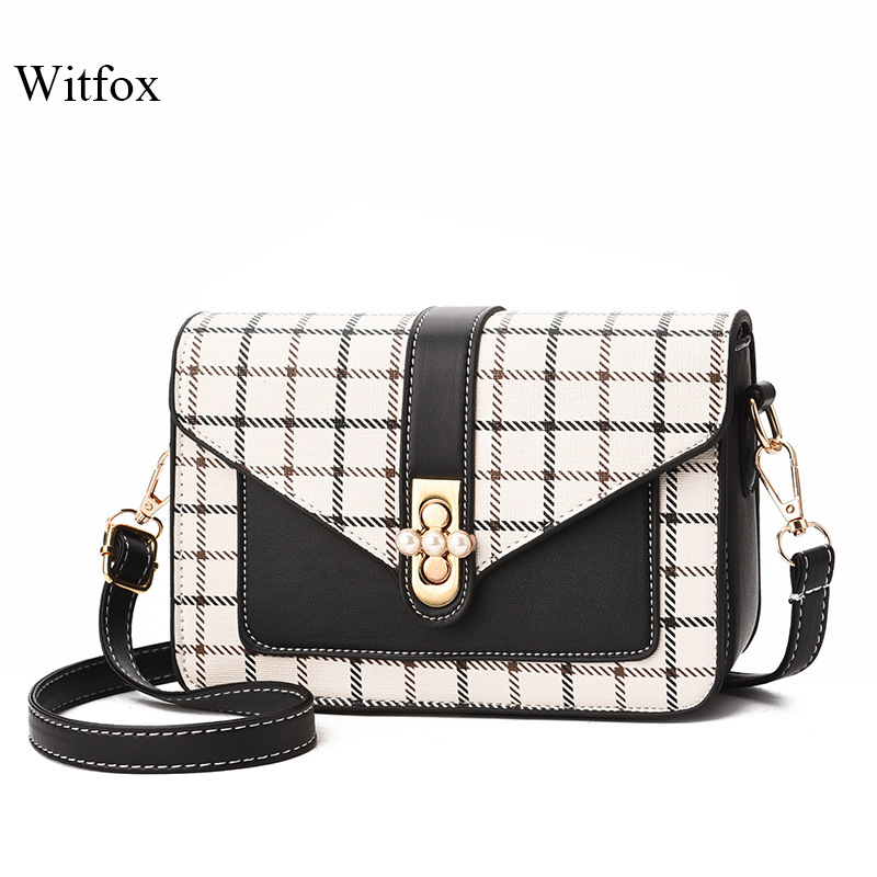 WITFOX Pearl lock plaid crossbody bags for women bag small over women 39 s shoulder pu leather cell phone trend bag in Top Handle Bags from Luggage amp Bags