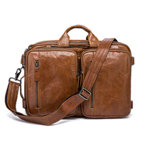 Genuine Leather Men Business Briefcase Male High Capacity Laptop Bag Multi Function Messenger Shoulder Bag Male Travel Back Pack