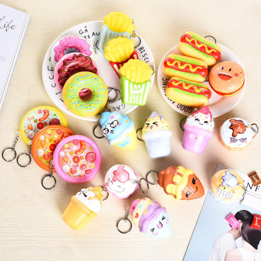 Slow Rising Squishy French Fries Ice Cream New Simulation PU Heat Dog Funny Kawaii Keychain Anti Stress Toys For Children #JC