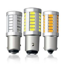 цена на 1piece 1156 BA15S P21W 33 led 5630 5730 smd Car Tail Bulb Brake Lights auto Reverse Lamp Daytime Running Light red white yellow