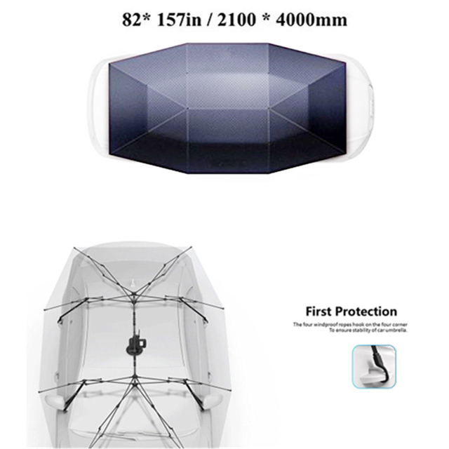 Portable Full Automatic Car Cover Umbrella Outdoor Car Tent Umbrella Roof Cover UV Protection Kits Sun Shade with Remote Control 4