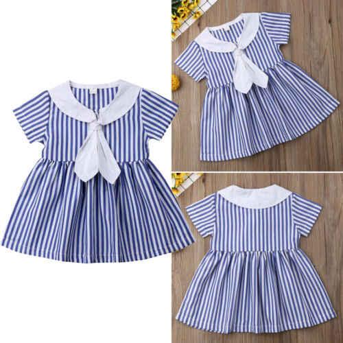 Короткое детское платье для маленьких девочек платья в полоску с матросским воротником вечерние летние сарафаны принцессы для детей от 1 до 6 лет