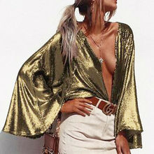 Summer Tops 2019 New Summer Women Sexy Sequined Collarless Trumpet Long Sleeve Loose Cover Up Tops Size S-XL