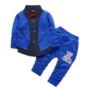 Kids Fashion Clothes Baby Bow Cotton T-shirts Pants 2Pcs/Sets Toddler Tracksuit Spring Autumn Children Boys Girls Clothing Sets цена 2017
