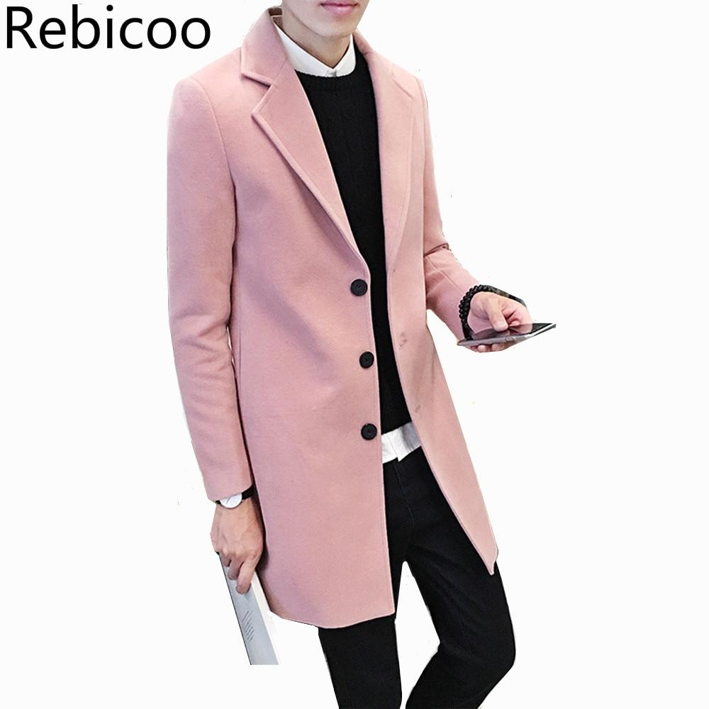Fashion Britsh Style Trench Coat Men Slim Wool Coats Turn Collar Single Button Jackets Mens Overcoat Khaki Dark Grey 5XL4XL