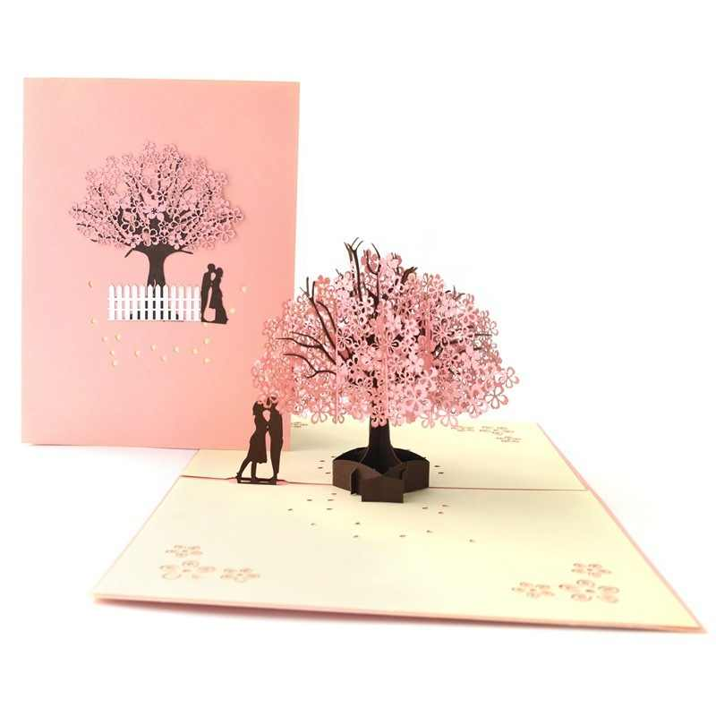 3d Greeting Card Pop Up Cards Valentine Birthday Card Anniversary Gift Postcard Tree Romantic Wedding Invitations Greeting Cards Cards Invitations Aliexpress