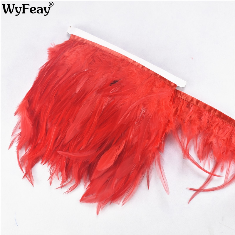 1 Meter Lot Chicken Cock Feathers Trim Fringe Pheasant Feathers for Crafts for Jewelry Making Clothing Wedding Decoration Plumes in Feather from Home Garden