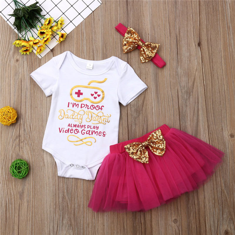 Newborn Baby Girls clothes Letter print short sleeve round neck Bodysuit Tutu Tulle Skirts bow sequin Headband 3pc kids Outfits