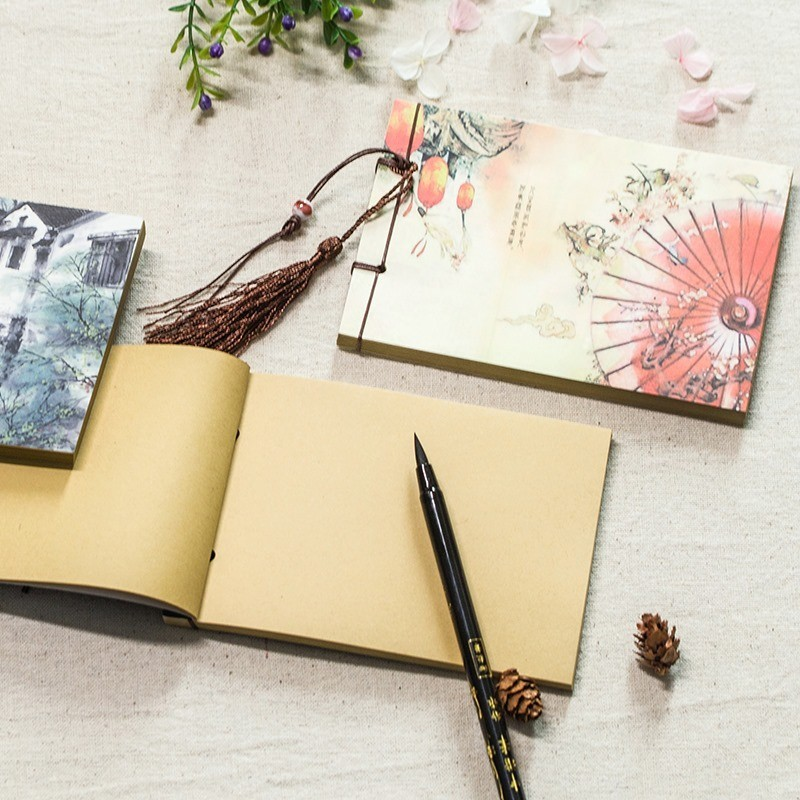 Chinese Style Tassel Retro Handmade Sketchbook Journal Notebook Diary Book Paper Notepad Weekly Planner Stationery 016007
