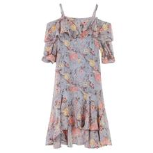2e5974312def MISSKY Chiffon Summer Women Off Shoulder Lace Up Sexy Female Flowing party  dress