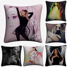купить Ariana Grande Sexy Artwork Soft Cotton Linen Cushion Covers 45x45cm Vintage Pillowcase For Sofa Home Decoration Almofada дешево