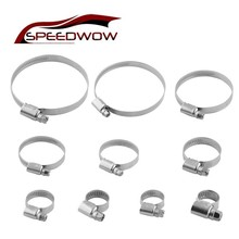 SPEEDWOW Stainless Steel 10 Sizes Adjustable Worm Drive Fuel Line Pipe Clamps Universal Hose Tube Gear Screw Band Clip