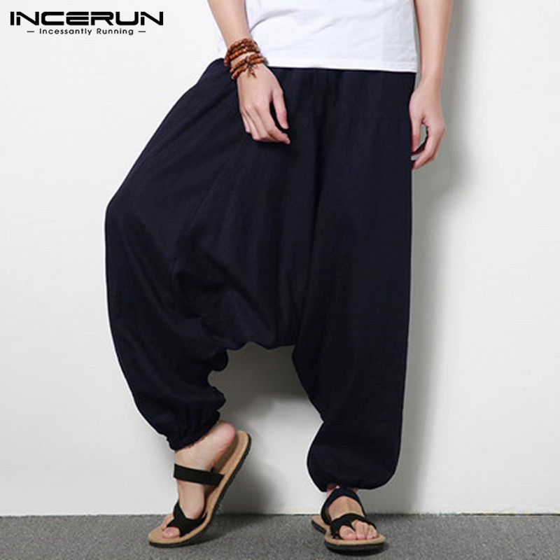 INCERUN Men Harem Pants Cotton Hip-hop Loose Joggers Wide Leg Pants Nepal Trousers Men Solid Drop Crotch Corss-pants Streetwear