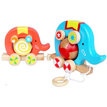 Kids Wooden Classic Can drag/Drawable Elephant Car Baby Wood Early Training Cartoon Blocks Forest Football circus Toys