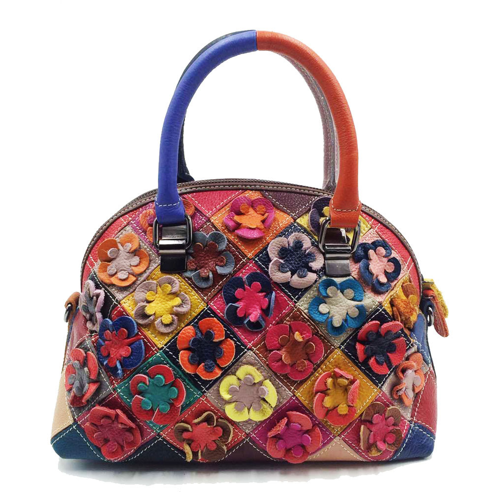 Genuine Leather Handbags Women Cowhide Leather Shoulder Bag Real Leather Color Flowers Bags European And American StylGenuine Leather Handbags Women Cowhide Leather Shoulder Bag Real Leather Color Flowers Bags European And American Styl