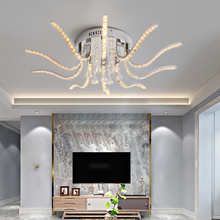 Chrome Finish Crystal Chandelier For Livingroom Bedroom Sutdy Dimmable Ceiling led lights Fixtures Modern