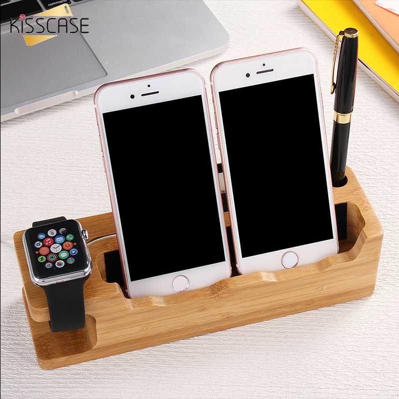 KISSCASE Wooden Holer For <font><b>iPhone</b></font> 7 7 Plus 6 6S Plus <font><b>4s</b></font> 5s SE Charging <font><b>Dock</b></font> <font><b>Station</b></font> Mobile Phone Stand Holder Charger For iWatch image