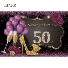 Laeacco 50th Birthday Party Women Balloon Backdrop Photography Backgrounds Customized Photographic Backdrops For Photo Studio