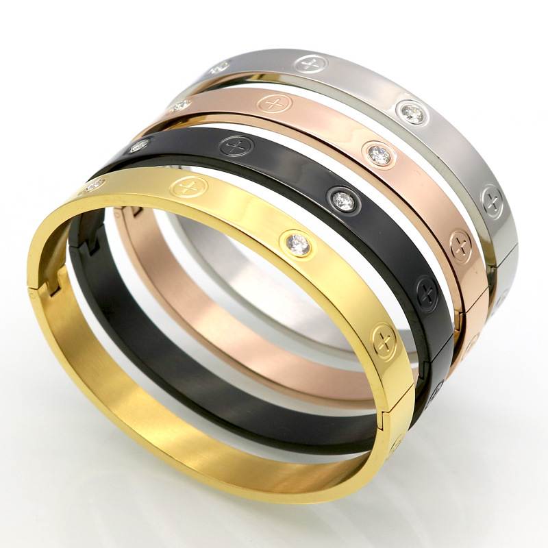 Original tidal brand screwdriver men and women simple gold pure black titanium steel bracelet cross screw ring wholesale