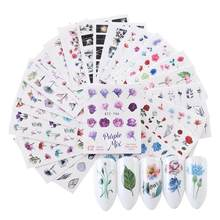 24pcs Nail Sticker Watercolor Floral Flower Sticker Nail Decals Set Flamingo Sea Horse Designs Gel Manicure Decor Water Slider(China)