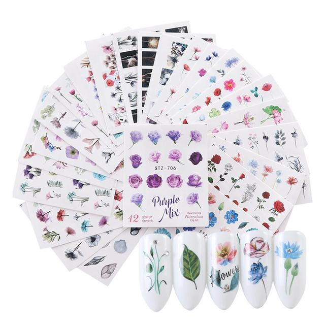 24pcs Nail Sticker Watercolor Floral Flower Sticker Nail Decals Set Flamingo Sea Horse Designs Gel Manicure Decor Water Slider