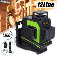 12 Lines Green Cross Line Laser Level 510nm 3D 360 Degree Rotation Auto Leveling Horizontal Vertical Laser Beam Indoor/Outdoor