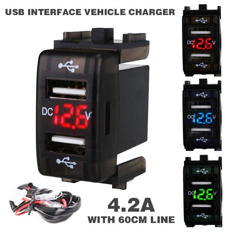 Новинка 12-24 В 4.2A автомобильное зарядное устройство розетка двойной USB порт зарядка Вольтметр дисплей адаптер для смартфонов зарядное устро...