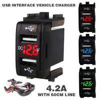 Neue 12-24 V 4.2A Auto Ladegerät Sockel Dual USB Port Lade Voltmeter Display Adapter Für Smart Telefon Ladegerät accessrioes
