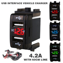 купить New 12-24 V 4.2A Car Charger Socket Dual USB Port Charging Voltmeter Display Adapter For Smart Phone Charger Accessrioes по цене 272.25 рублей