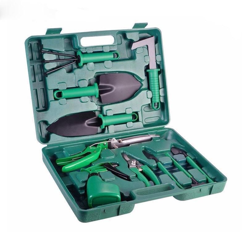 10 Pcs/set Garden Tool Set Shovel Rake Clippers Household Multifunctional Kit Garden Planting Plastic Case Packing