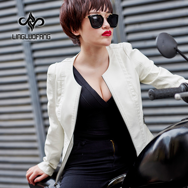 2019 Spring Autumn New Women Black Washed PU leather Coat Motorcycle Jacket Female White Faux Leather Short Jackets S-XXXXL