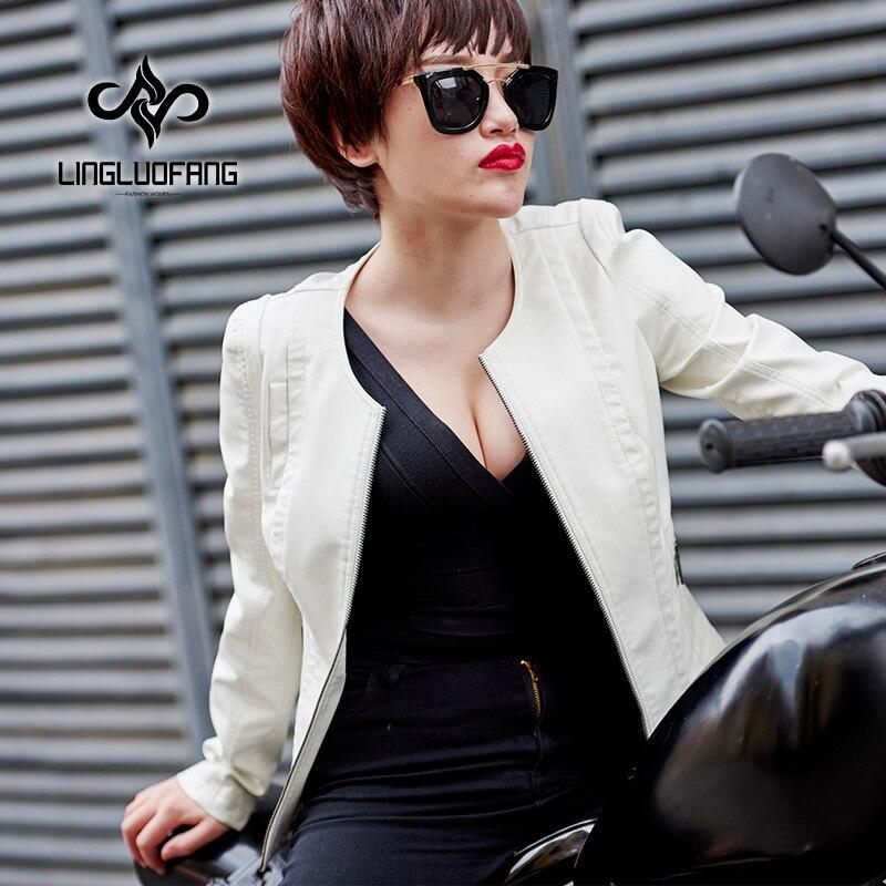 2019 Spring Autumn New Women Black Washed PU leather Coat Motorcycle Jacket Female White Faux Leather Short Jackets S-XXXXL