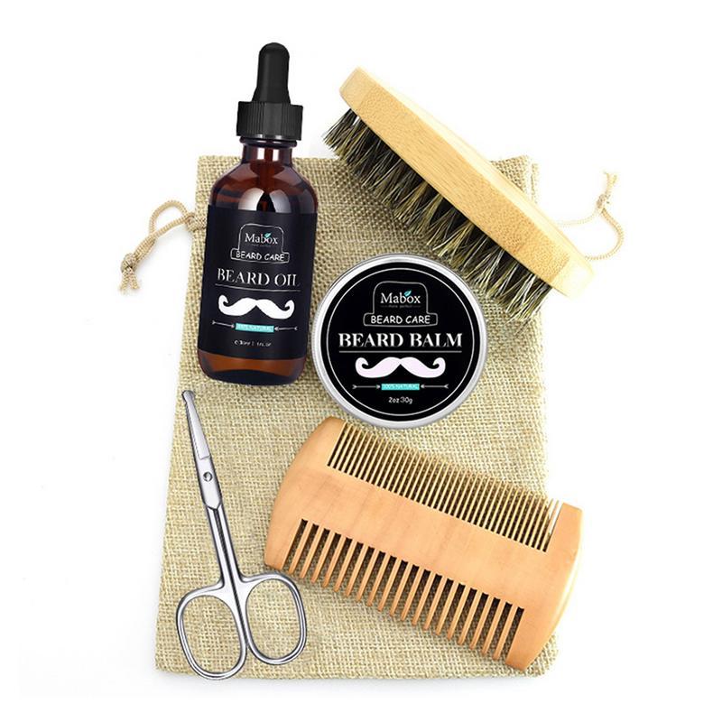 Men Beard Care Set With Scissor,Comb,Brush,Beard Oil,Styling Shaping Mustache Hair Growth Beard Styling Mustache Beard Care Kit
